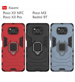 Xiaomi Poco X3 NFC X3 Pro Poco M3 Redmi 9T Car Holder Case Cover Casing Full Protection Stand Back Phone Mobile Housing