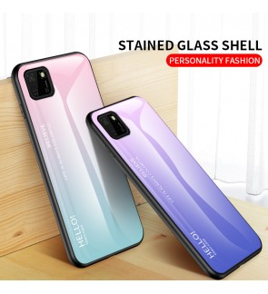 Huawei Honor 9S Gradient Aurora Case Cover Casing Back Tempered Glass Housing