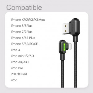 MCDODO Type C Lightning Cable Micro USB Fast Charging Iphone Charger Type-C Data Nylon Braided 90 Degree Gaming Game