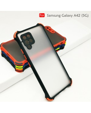 Samsung Galaxy A42 5G Back Case Cover Carbon Fiber Brushed TPU Silicone Soft Casing Housing
