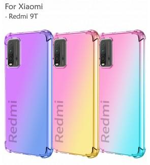 Xiaomi Redmi 9T Anti-Shock Air Bag Case Cover Rainbow Aurora TPU Soft Casing Housing