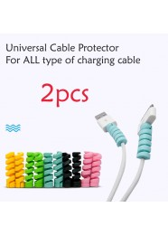 2pcs Universal Silicone Spiral USB Charge Cable Cord Curling Protector Saver Cover for iPhone Type C Android Micro USB