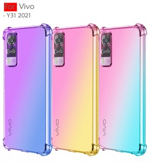 Vivo Y31 2021 Anti-Shock Case Cover Rainbow Aurora TPU Soft Casing Housing