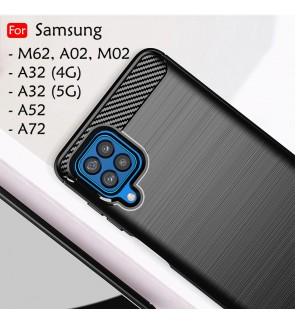 Samsung Galaxy A02 M62 M02 A32 4G 5G A52 A72 Back Case Cover Brushed TPU Silicone Soft Casing Phone Mobile Housing