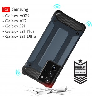 Samsung Galaxy A02S A12 M12 S21 S21 Plus S21 Ultra S21+ Rugged Armor Case Cover Hard  Casing Shockproof Housing