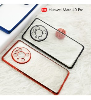 Huawei Mate 40 Pro Electroplate Ver 4 Crystal Transparent Case Cover TPU Soft Casing Camera Lens Phone Mobile Housing