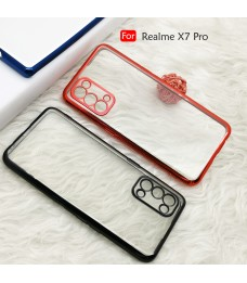 Realme X7 Pro Electroplate Ver 4 Crystal Clear Transparent Case Cover TPU Soft Casing Camera Lens Phone Mobile Housing