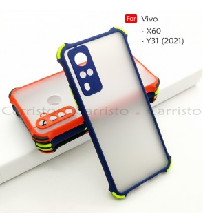 Vivo X60 Y31 2021 Phantom Shockproof Protection Case Housing Silicone Hard Back Cover Phone Mobile Casing Camera Protect