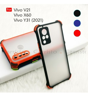 Vivo V21 Y31 2021 X60 Phantom Shockproof Protection Case Housing Silicone Hard Back Cover Phone Casing Camera Protect