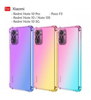 Xiaomi Redmi Note 10 5G Note 10S Note 10 Pro Poco F3 Rainbow Shockproof Case Cover Aurora TPU Soft Casing Phone Housing