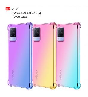 Vivo X60 Vivo V21 4G 5G Anti-Shock Case Cover Rainbow Aurora TPU Soft Casing Mobile Phone Housing