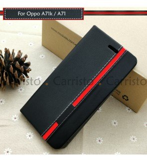 Oppo A71K A71 Horizon Luxury Flip Case With Card Slot Bag Cover Stand Pouch Leather Casing Phone Mobile Housing