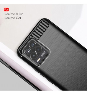 Realme C21 Realme 8 Pro Back Case Cover Carbon Fiber Brushed TPU Silicone Soft Casing Phone Mobile Housing