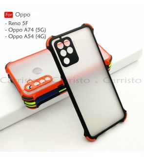 Oppo Reno 5F A74 5G A54 4G Phantom Shockproof Protection Case Housing Silicone Hard Back Cover Phone Mobile Casing