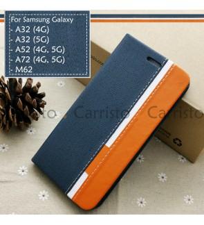 Samsung Galaxy A32 4G 5G A52 A72 M62 Horizon Luxury Flip Case Card Slot Bag Cover Pouch Leather Casing Phone Housing
