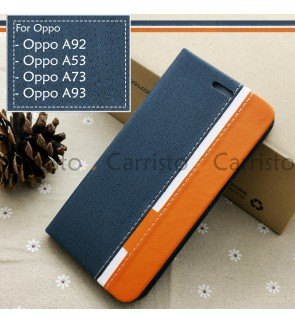 Oppo A92 A53 A73 2020 A93 Horizon Luxury Flip Case Card Slot Bag Cover Stand Pouch Leather Casing Phone Mobile Housing
