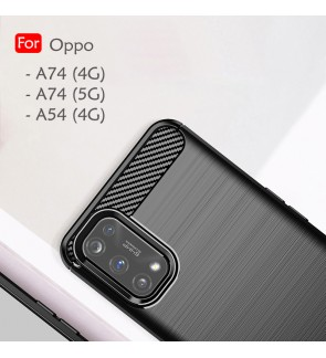 Oppo A54 4G A74 4G A74 5GBack Case Cover Carbon Fiber Brushed TPU Silicone Soft Casing Phone Mobile Housing