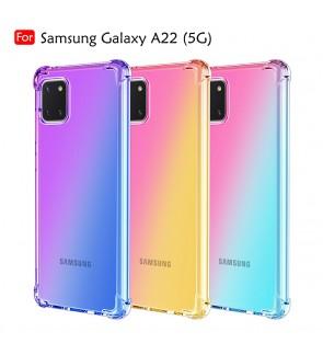 Samsung Galaxy A22 5G Anti-Shock Case Cover Rainbow Aurora TPU Soft Casing Mobile Phone Housing