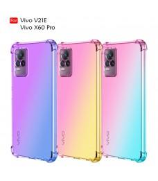 Vivo V21E Vivo X60 Pro Anti-Shock Case Cover Rainbow Aurora TPU Soft Casing Mobile Phone Housing