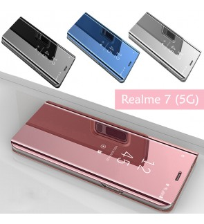 Realme 7 5G Delight Mirror Flip Case Cover Stand Pouch Leather Casing Phone Mobile Housing