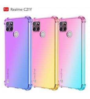 Realme C21Y Rainbow Aurora Anti-Shock Case Cover Back TPU Soft Casing Mobile Phone Housing
