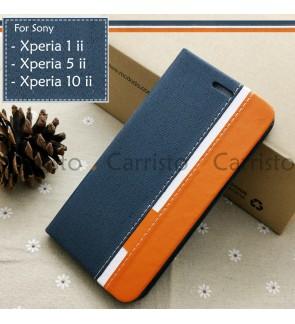 Sony Xperia 10 ii 5 ii 1 ii 10ii 5ii 1ii Horizon Luxury Flip Case Card Slot Bag Cover Stand Pouch Leather Casing Housing
