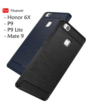 Huawei P9 P9 Lite Honor 6X 2016 Mate 9 Back Case Cover Carbon Fiber Brushed TPU Silicone Soft Casing Phone Housing