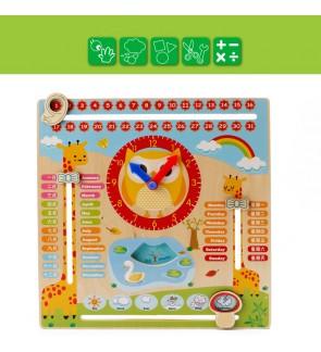 Wooden Calendar Clock Season Week Education Toys Toy