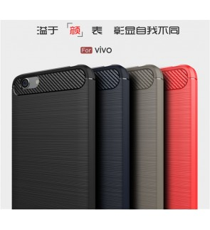 Vivo Y65 Y55 V9 Y71 Durable Carbon Brushed TPU Silicone Soft Case Cover Casing