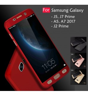 Samsung Galaxy J7 J5 J2 Prime A7 A5 2017 360 Full Cover Case Tempered Glass