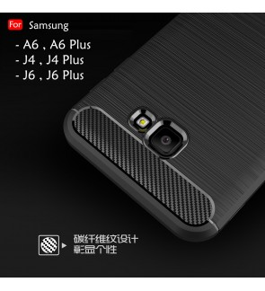 Samsung Galaxy A6 2018 A6 Plus J4 J6 J6 Plus J4 Plus Back Case Cover Fiber Brushed TPU Silicone Soft Casing Housing
