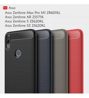 Asus Zenfone 5 5Z AR Zenfone Max Pro M1 Back Case Cover Carbon Fiber Brushed TPU Silicone Soft Casing Phone Housing