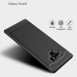 Samsung Galaxy Note 9 J8 2018 Back Case Cover Carbon Fiber Brushed TPU Silicone Soft Casing Phone Mobile Housing
