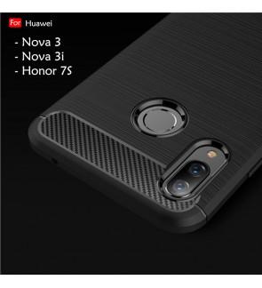Huawei Nova 3 Nova 3i Honor 7S Y5 Prime 2018 Back Case Cover Carbon Fiber Brushed TPU Silicone Soft Casing Phone Housing