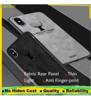 Iphone XR Iphone XS Max Vintage Deer Canvas Fabric Soft Case Cover Casing