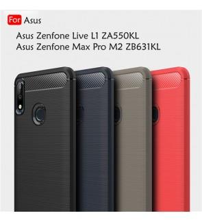 Asus Zenfone Live Max Pro M2 ZB631KL L1 ZA550KL Back Case Cover Carbon Fiber Brushed Silicone Soft Casing Phone Housing