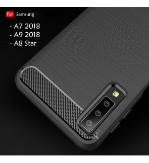 Samsung Galaxy A7 2018 A9 2018 A8 Star Back Case Cover Carbon Fiber Brushed TPU Silicone Soft Casing Phone Housing