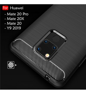 Huawei Mate 20 20 Pro Mate 20X Y9 2019 Back Case Cover Carbon Fiber Brushed TPU Silicone Soft Casing Phone Housing