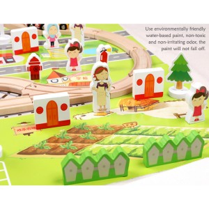 Wooden Toys Toy Train Set With Train Vehicles Track 80 pcs Perfect Birthday Gift