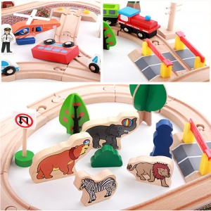 Wooden Toys Toy Train Set With Train Vehicles Track 89 pcs Perfect Birthday Gift