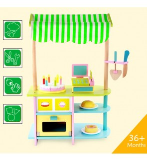 Wooden Toys Toy Bakery Biscuit Cake Bread Stall Shop Perfect Birthday Gift