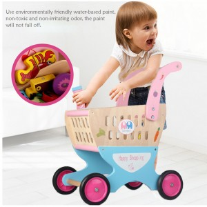 Wooden Toys Toy Shopping Cart Trolley Stroller Perfect Birthday Gift
