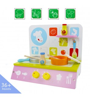 Wooden Toys Toy Kitchen Cooking Stove Perfect Birthday Gift Green Cooking Bench