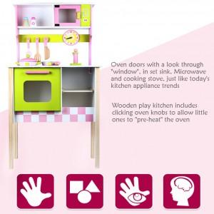 Wooden Toys Toy Kitchen Cooking Set Perfect Birthday Gift European Style Kitchen