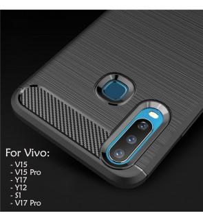 Vivo S1 V15 V15 Pro Y17 Y12 V17 Pro Carbon Fiber Silicone Soft Case Cover Casing Back Brushed Mobile Phone Housing