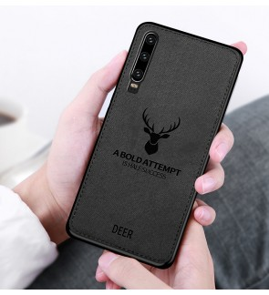Huawei P30 Pro Y7 Pro 2019 Fabric Case Cover Casing Fabric Vintage Deer Housing
