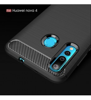 Huawei Nova 4 Y7 Pro 2019 Honor 20 Lite Soft Case Cover Casing Carbon Fiber Brushed TPU Silicone