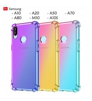 Samsung Galaxy A50 A20 A10 A70 A80 M10 A10S Rainbow Aurora Anti-Shock Case Cover Back TPU Soft Casing Phone Housing