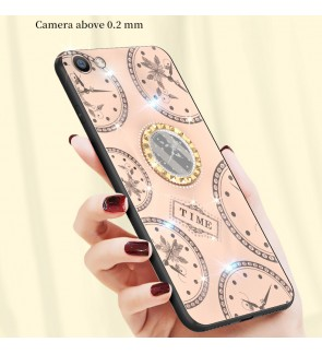 Oppo R9S F1S A83 Shining Diamond Cover Timer Hard Back Casing Case Mobile Phone Lady Girl Housing With I-Ring