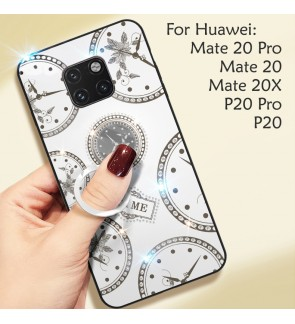 Huawei Mate 20 Mate 20 Pro Mate 20X P20 Pro Timer Shining Diamond Cover Hard Back Casing Case Housing With I-Ring